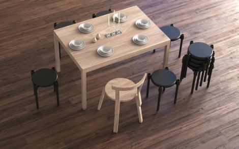 il tavolo e gli stool della UOOK collection