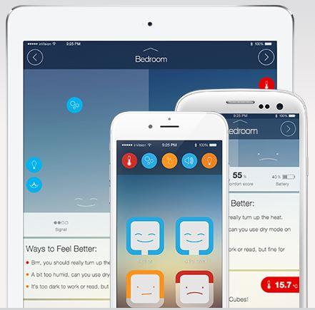 La dashboard della app CubeSensors, per controllare il dispositivo e i dati acquisiti