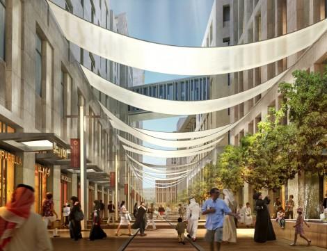 Un render che mostra il civic hub alla base del concept progettuale di Mshereib